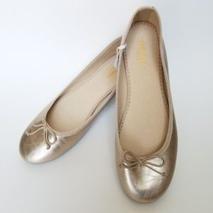 Nwt Old Navy Gold Ballet Flats 7